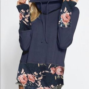 Tops - Jersey knit cowl neck top with floral cuffs & hem